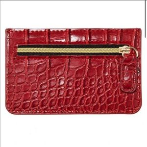 B-Low the Belt croc embossed card case wallet red